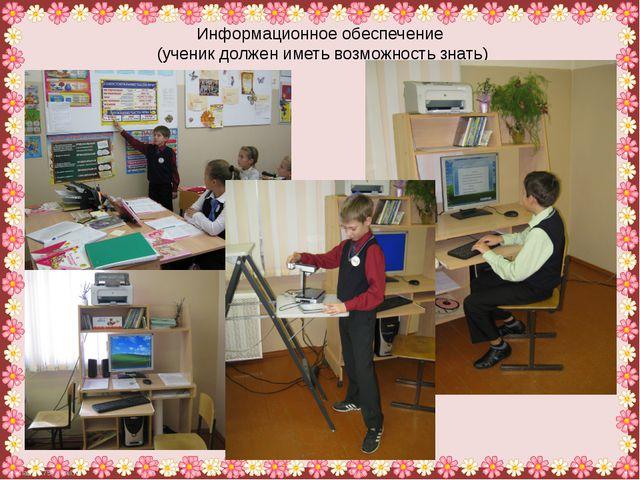 Информационное обеспечение (ученик должен иметь возможность знать) FokinaLida...