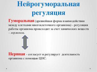 Нейрогуморальная регуляция Гуморальная (древнейшая форма взаимодействия между