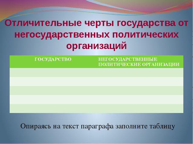 Отличительные черты государства от негосударственных политических организаций...