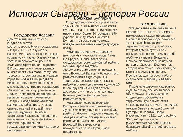 История Сызрани – история России Государство Хазария Два столетия эта местнос...