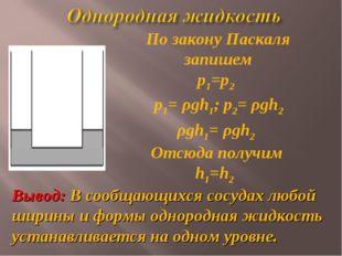 ρgh1= ρgh2 Отсюда получим h1=h2 По закону Паскаля запишем р1=р2 Вывод: В сооб