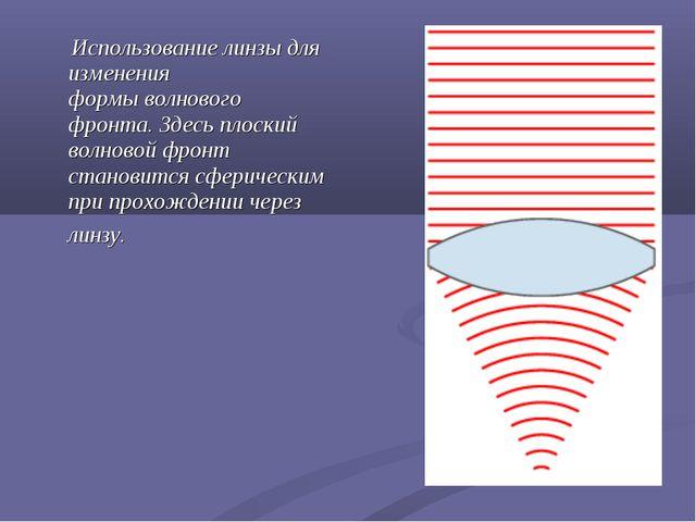 Использование линзы для изменения формыволнового фронта. Здесь плоский волн...