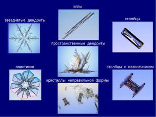 звёздчатые дендриты пластинки столбцы иглы пространственные дендриты столбцы