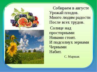Собираем в августе Урожай плодов. Много людям радости После всех трудов. Сол