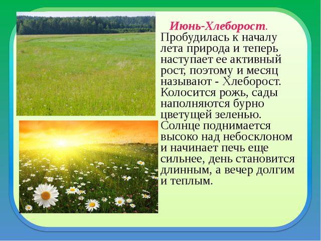 Июнь-Хлеборост. Пробудилась к началу лета природа и теперь наступает ее акти...