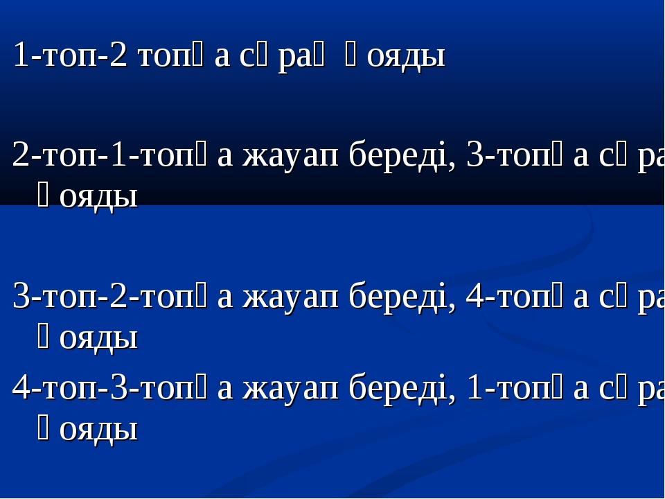 1-топ-2 топқа сұрақ қояды 2-топ-1-топқа жауап береді, 3-топқа сұрақ қояды 3-т...