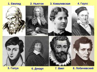 1. Евклид 2. Ньютон 5. Галуа 7. Виет 8. Лобачевский 3. Ковалевская 4. Гаусс 6