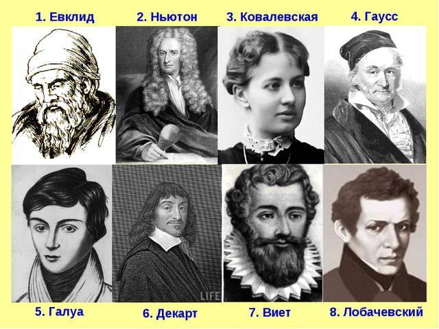 1. Евклид 2. Ньютон 5. Галуа 7. Виет 8. Лобачевский 3. Ковалевская 4. Гаусс 6...