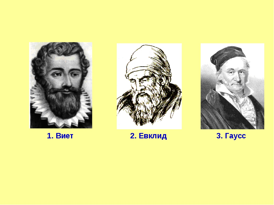 1. Виет 2. Евклид 3. Гаусс