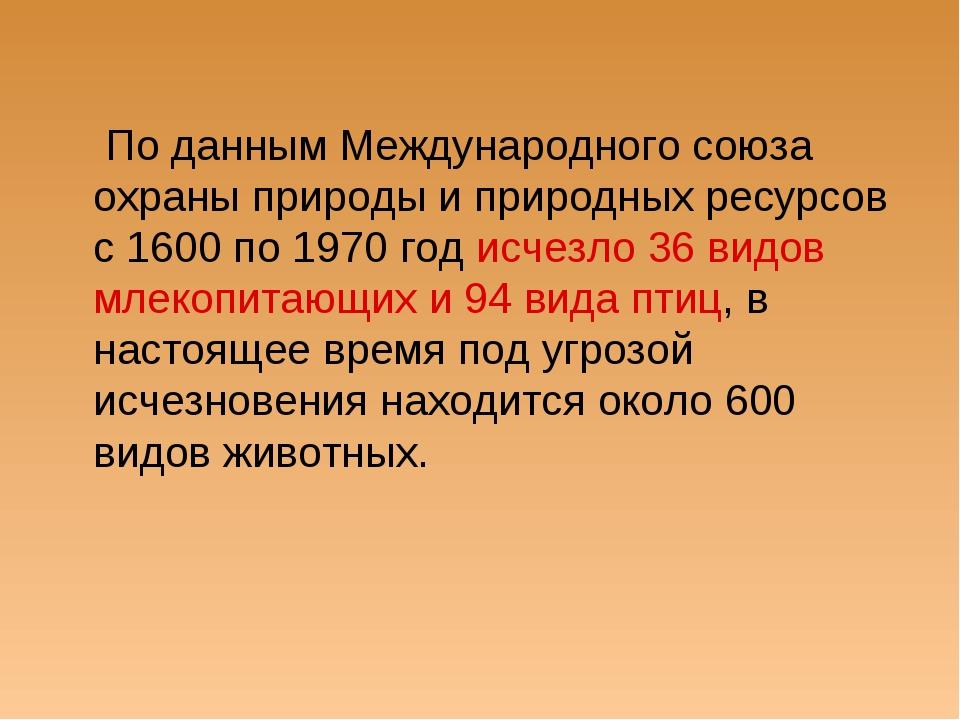 По данным Международного союза охраны природы и природных ресурсов с 1600 по...
