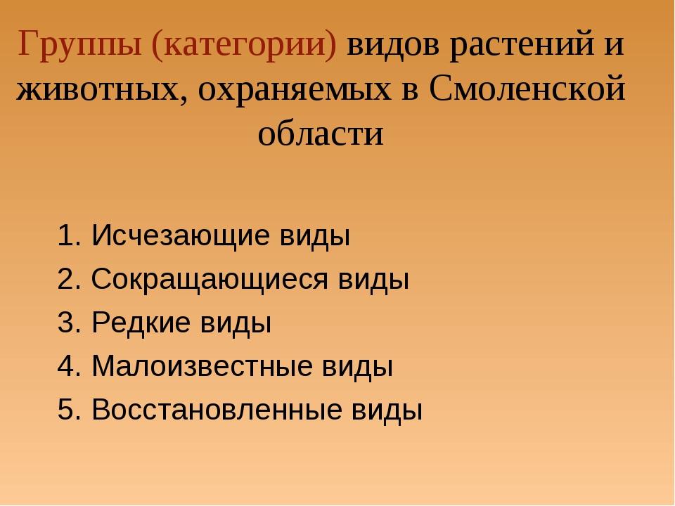 Группы (категории) видов растений и животных, охраняемых в Смоленской област...