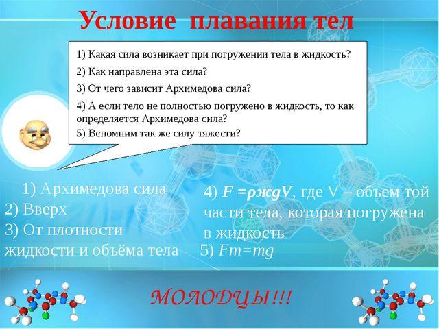 1) Архимедова сила МОЛОДЦЫ!!! 1) Какая сила возникает при погружении тела в ж...