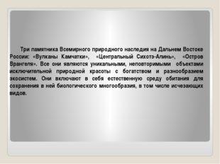 Три памятника Всемирного природного наследия на Дальнем Востоке России: «Вулк