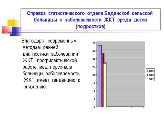 Справка статистического отдела Бадинской сельской больницы о заболеваемости Ж...
