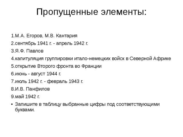 Пропущенные элементы: 1.М.А. Егоров, М.В. Кантария 2.сентябрь 1941 г. - апрел...