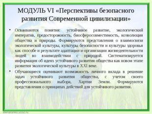 МОДУЛЬ VI «Перспективы безопасного развития Современной цивилизации» Осваива