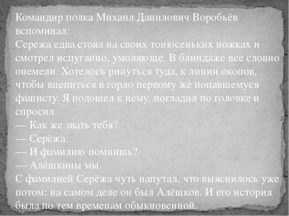 Командир полка Михаил Данилович Воробьёв вспоминал: Сережа едва стоял на свои...