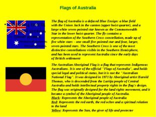 Flags of Australia The flag of Australia is a defaced Blue Ensign: a blue fie