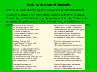 """National Anthem of Australia Until 1974 """"God Save the Queen"""" was Australia's"""