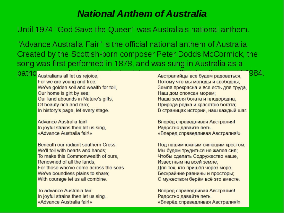 """National Anthem of Australia Until 1974 """"God Save the Queen"""" was Australia's..."""