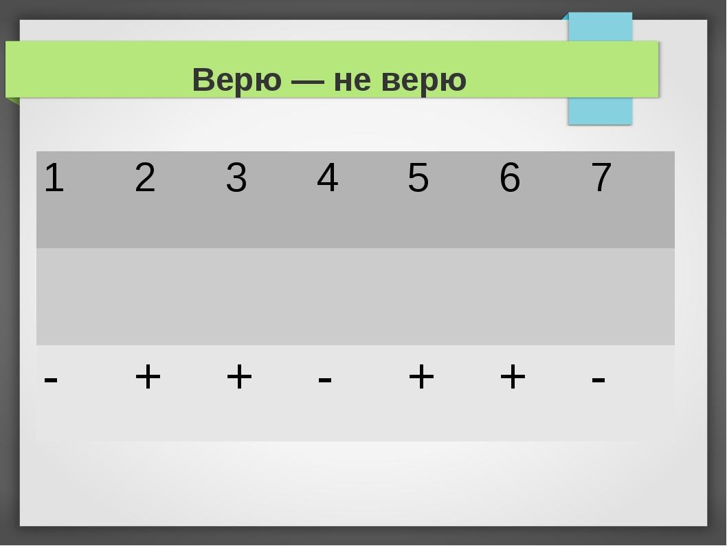 Верю — не верю 1234567  -++-++-