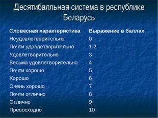 Десятибалльная система в республике Беларусь