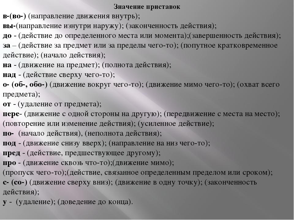 Значение приставок в-(во-) (направление движения внутрь); вы-(направление из...