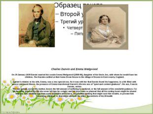 Сharles Darwin and Emma Wedgwood On 29 January 1839 Darwin married his cousi