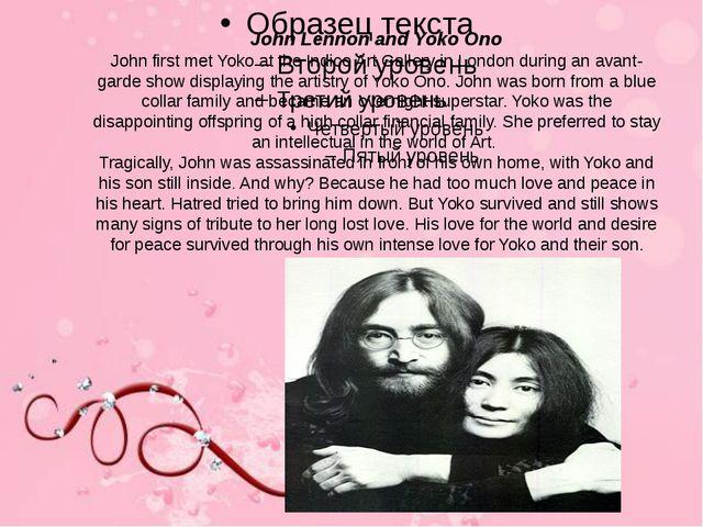 John Lennon and Yoko Ono John first met Yoko at the Indico Art Gallery in Lon...