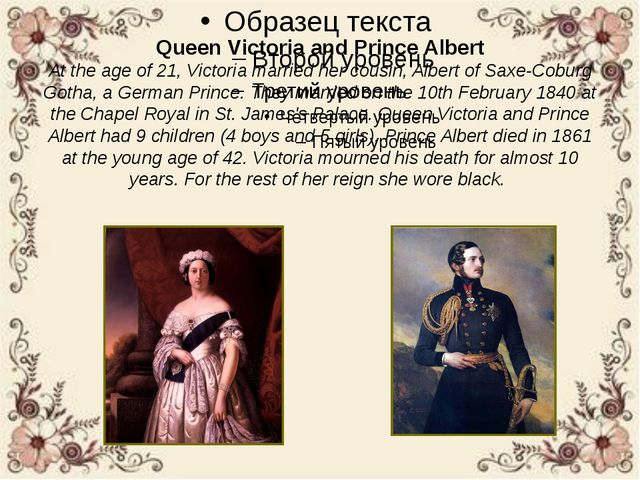 Queen Victoria and Prince Albert At the age of 21, Victoria married her cousi...