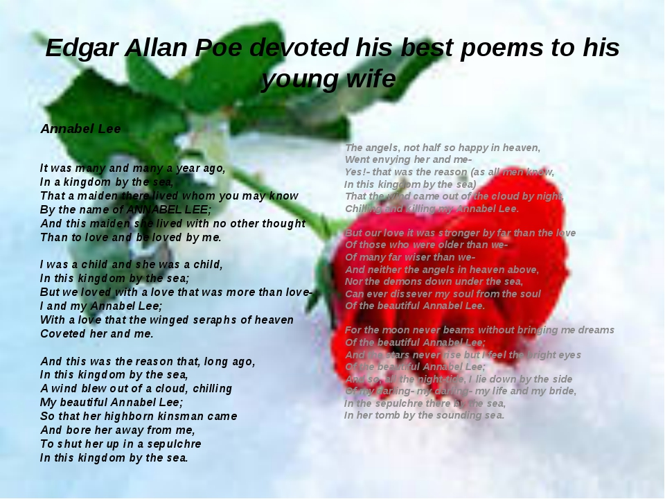 Edgar Allan Poe devoted his best poems to his young wife Annabel Lee It was m...