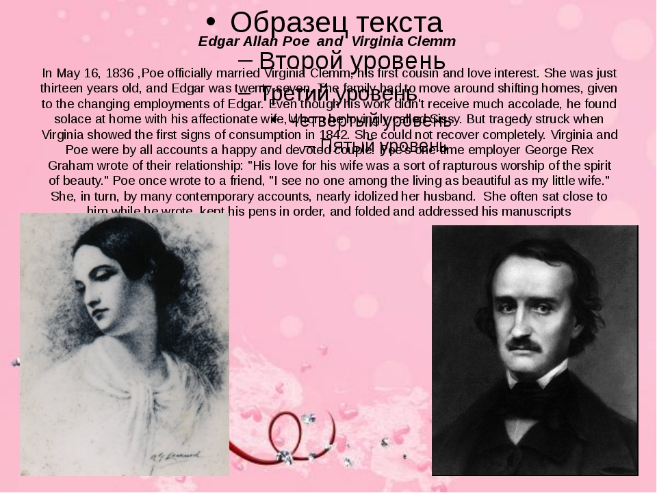 Edgar Allan Poe and Virginia Clemm In May 16, 1836 ,Poe officially married Vi...