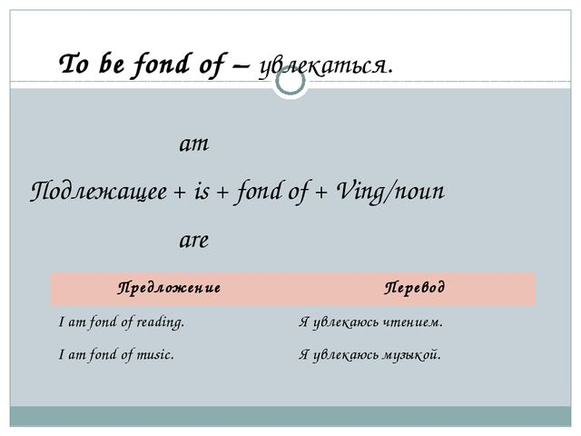 To be fond of – увлекаться. am Подлежащее + is + fond of + Ving/noun are Пр...