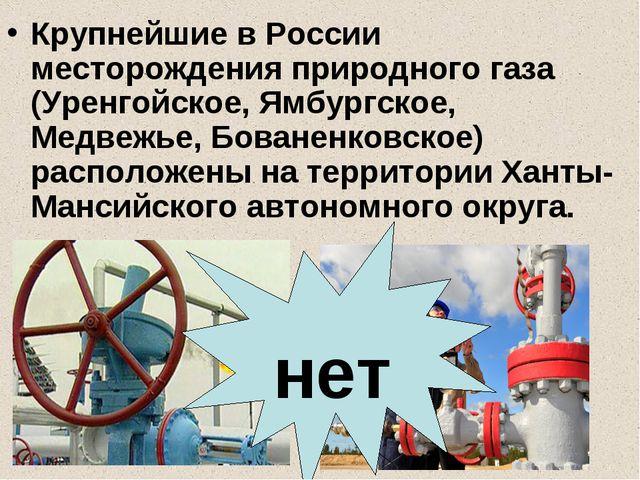 Крупнейшие в России месторождения природного газа (Уренгойское, Ямбургское, М...