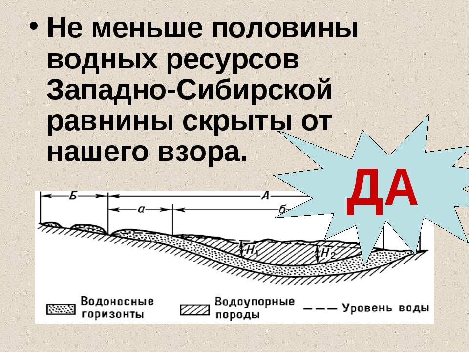Не меньше половины водных ресурсов Западно-Сибирской равнины скрыты от нашего...