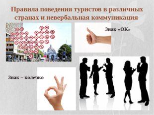 Правила поведения туристов в различных странах и невербальная коммуникация Зн