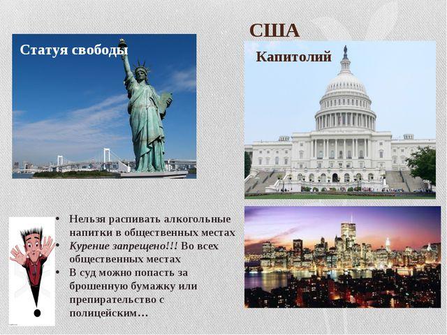США Капитолий Статуя свободы Нельзя распивать алкогольные напитки в обществе...