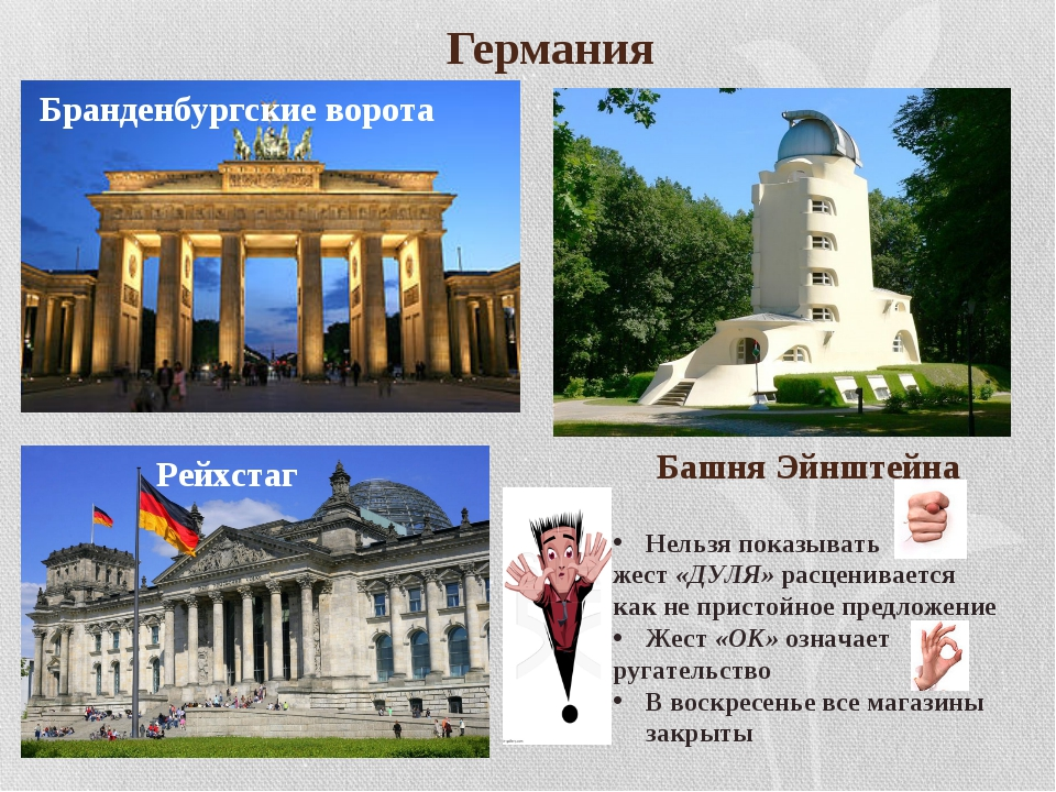 Германия Бранденбургские ворота Башня Эйнштейна Рейхстаг Нельзя показывать ж...