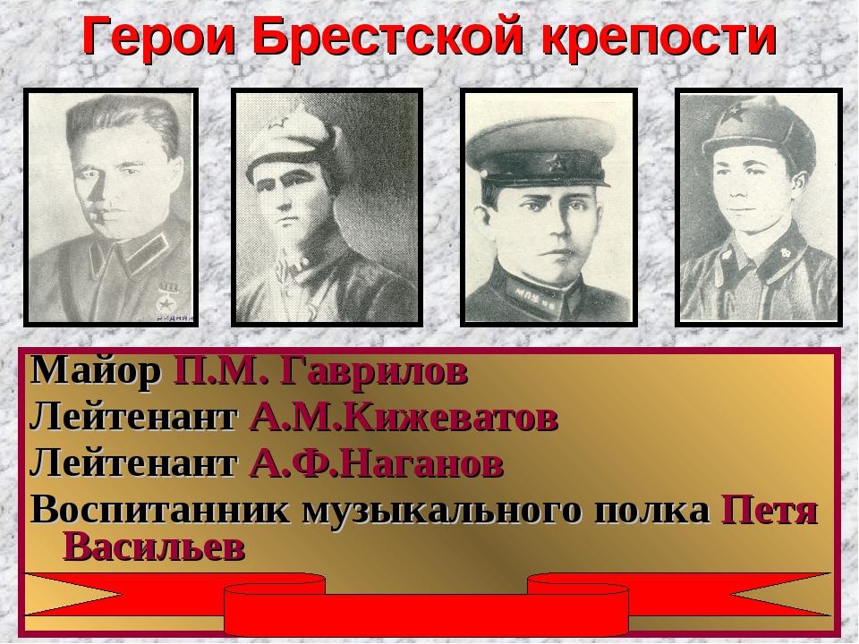 Герои Брестской крепости Майор П.М. Гаврилов Лейтенант А.М.Кижеватов Лейтенан...