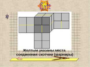 Желтым указаны места соединения скотчем (шарниры)