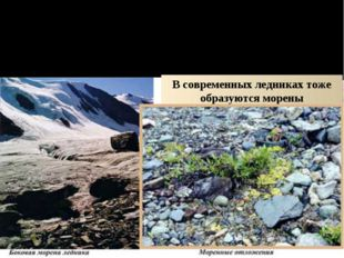 ДЕЙСТВИЕ ЛЬДА И СНЕГА ПОКРОВНОЕ ОЛЕДЕНЕНИЕ Ледник оставил морену – материал,
