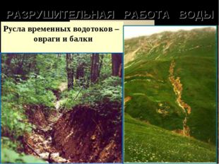 РАЗРУШИТЕЛЬНАЯ РАБОТА ВОДЫ Речные долины Горные ущелья Русла временных водото