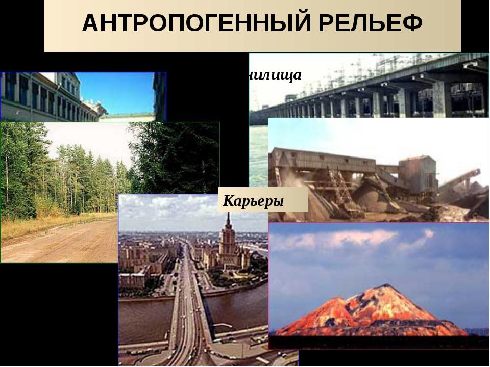 ДЕЯТЕЛЬНОСТЬ ЧЕЛОВЕКА терриконы дороги изменённый рельеф городов каналы Карье...