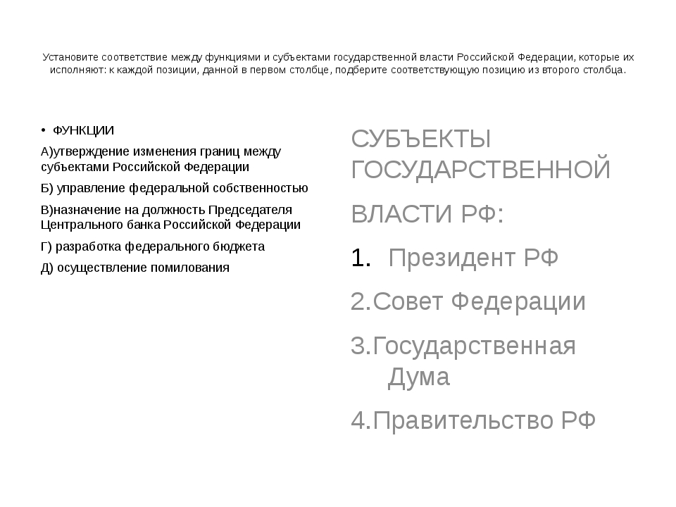 Установите соответствие между функциями и субъектами государственной власти...