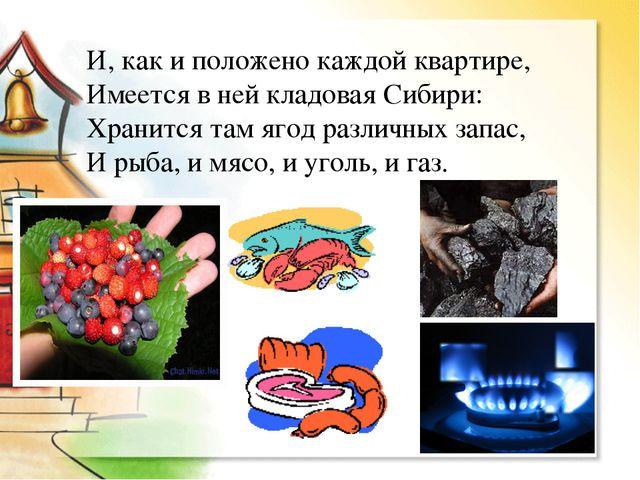 И, как и положено каждой квартире, Имеется в ней кладовая Сибири: Хранится та...