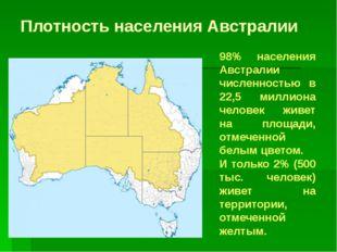 Плотность населения Австралии