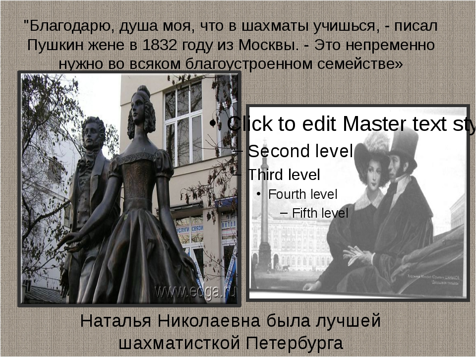 """""""Благодарю, душа моя, что в шахматы учишься, - писал Пушкин жене в 1832 году..."""