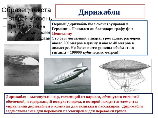 Дирижабли Первый дирижабль был сконструирован в Германии. Появился он благода...