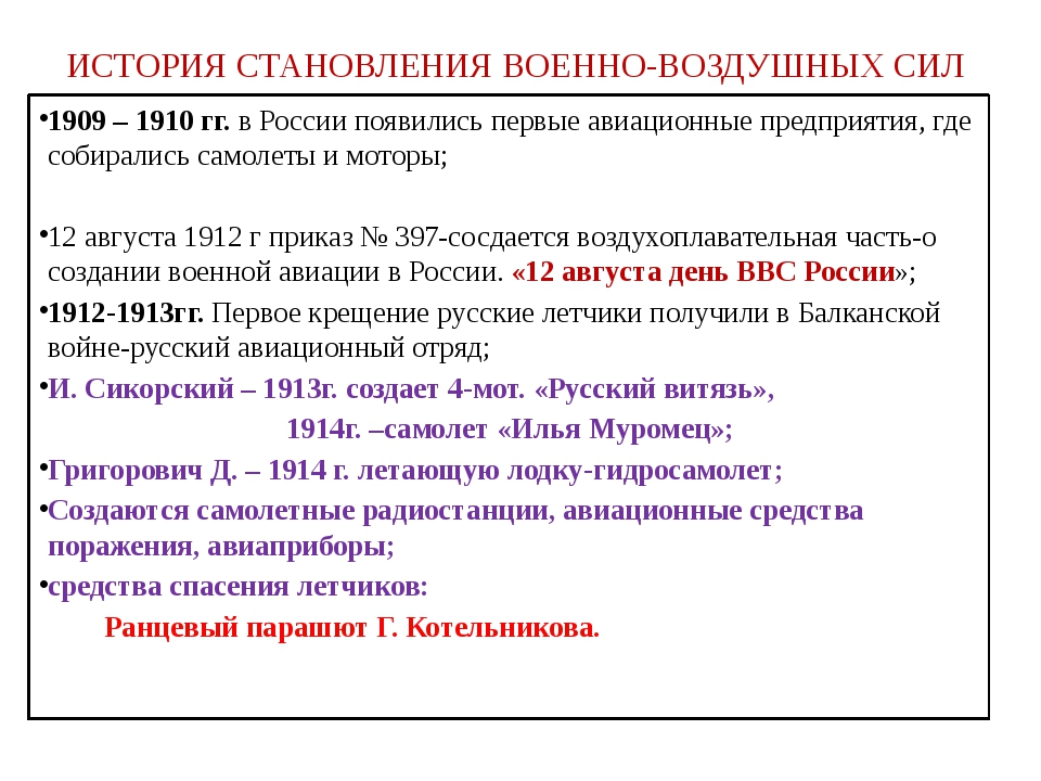 ИСТОРИЯ СТАНОВЛЕНИЯ ВОЕННО-ВОЗДУШНЫХ СИЛ 1909 – 1910 гг. в России появились п...