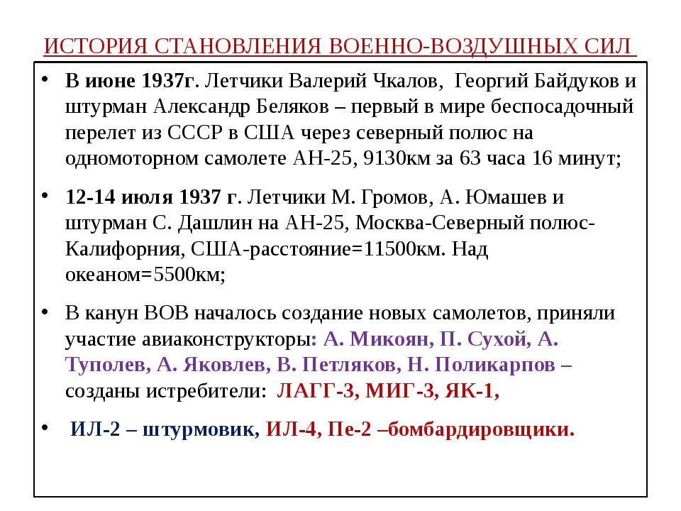 ИСТОРИЯ СТАНОВЛЕНИЯ ВОЕННО-ВОЗДУШНЫХ СИЛ В июне 1937г. Летчики Валерий Чкалов...